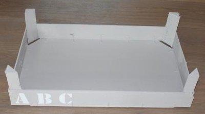 Brocante houten kistje, grijs met ABC, groot