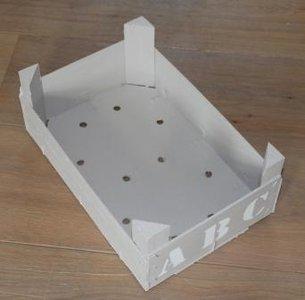 Brocante houten kistje, grijs met ABC, klein