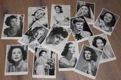 Brocante zwart wit foto's oude filmsterren, diverse