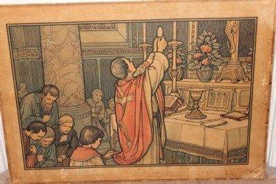 Grote oude religieuze prent, schoolplaat