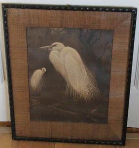 Litho 2 witte reigers H. Verstynen oude schilderijlijst