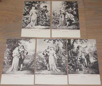 Romantische oude zwart wit kaarten, divers