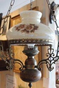Brocante hanglamp, olielamp met rozen, elektrisch