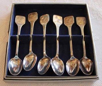 Set van 6 verzilverde theelepels AbvaKabo