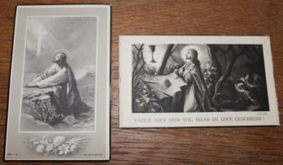 Oud bidprentje Jezus knielend, div. soorten