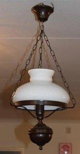 Hanglamp, bruin, model olielamp, elektrisch
