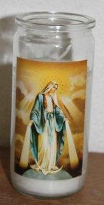 Vintage noveenkaars in glas met Maria afbeelding