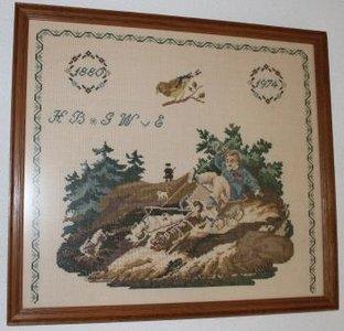 Oud brocante borduurwerk herinnering merklap