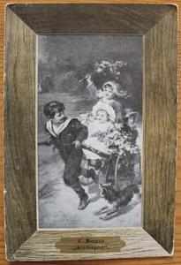 Oude ansichtkaart kindjes met hond en kar