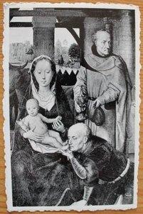 Oude ansichtkaart Maria met kind en mannen