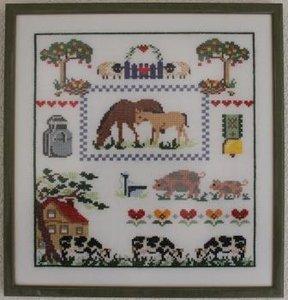 Brocante borduurwerk boerderij in lijst