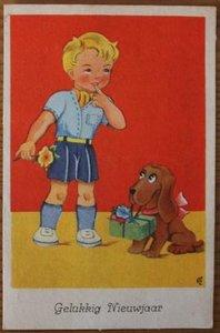 Oude ansichtkaart jongetje Gelukkig nieuwjaar