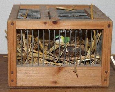 Oud brocante vierkant houten vogelkooitje