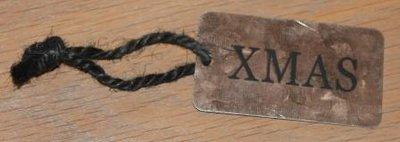 Label XMAS koperkleurig metaal met touwtje