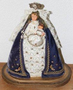 Oud Maria popje met kind op stolp bodem
