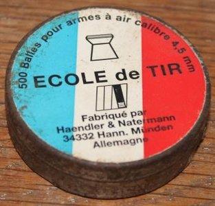 Oud Frans blikje Ecole de Tir, brocante