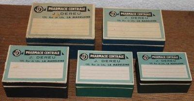 Oude brocante Franse apothekersdoosjes div.