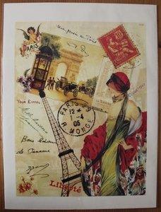 Franse vintage poster Paris dame en Eiffeltoren