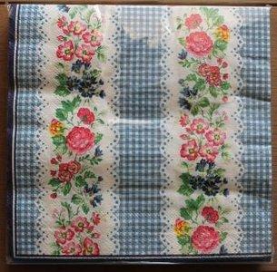 Brocante servetten blauw/wit en bloemetjes
