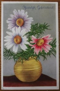 Oude ansichtkaart bloemen Hartelijk Gefeliciteerd 1