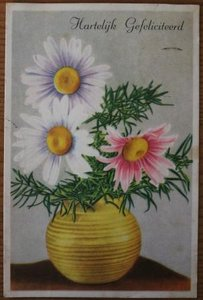 Oude ansichtkaart bloemen Hartelijk Gefeliciteerd 2