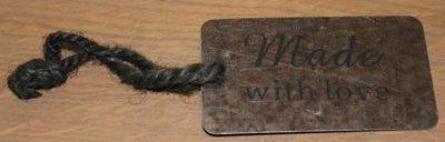 Label Made with love, koperkleurig metaal