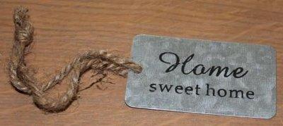 Label van zink Home sweet home met touwtje