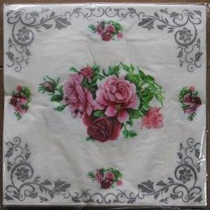 Brocante servetten met roze roosjes