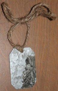 Label van zink vintage dame metaal met touwtje