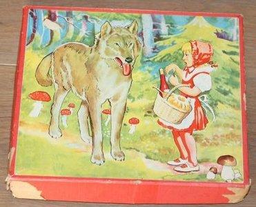 Oude houten blokkenpuzzel Roodkapje sprookjes, groot