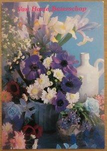 Oude ansichtkaart bloemen Beterschap onbeschreven