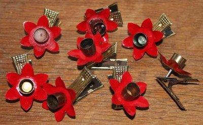 Brocante kerstboomknijpers kaarsjes rode bloem