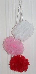 3 Papieren pompons, 3D decoratie wit/roze/rood