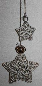 Brocante kerststerren set rustic rattan belletje, groot