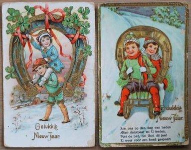 Oude brocante kerstkaarten hoefijzer geluk goud, 2 st.