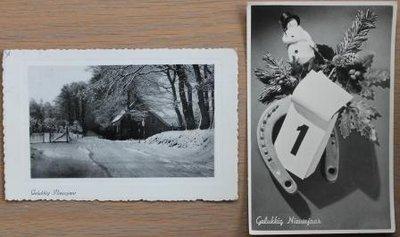 Oude brocante kerstkaarten zwart wit foto natuur 2 st.