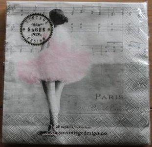 Brocante servetten vintage muziek ballerina Paris