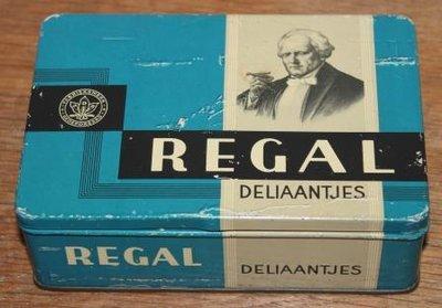 Oud blauw brocante sigarenblikje Regal Deliaantjes
