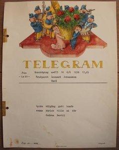 Oud brocante telegram orkest en bloemenmand