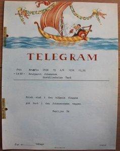 Oud brocante telegram bruidspaar in huwelijksbootje