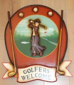 Brocante pub wandbord cafébord Golfers Welcome