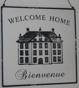 Brocante metalen wandbord landhuis Welcome home