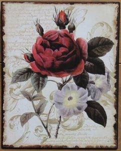 Brocante metalen wandbord rozen en bloemen