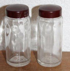 Oud brocante glazen apothekerspotje bruine bakeliet dop
