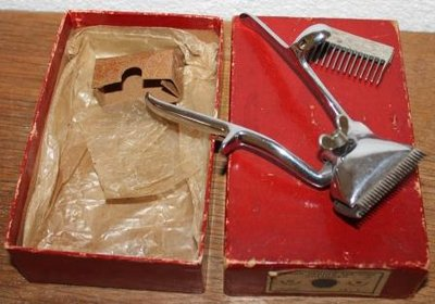 Oude brocante tondeuse in org. verpakkingsdoosje