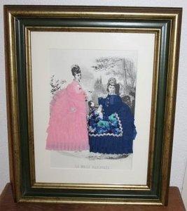 Oude brocante 3D modeprent dames m stoffen jurken