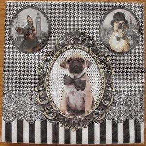 Brocante servetten barok honden zwart/wit streep/ruit