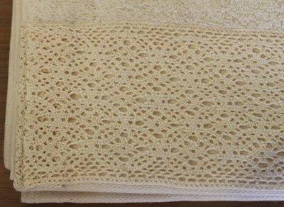 Brocante beige handdoeken m kantrand 50x100 cm
