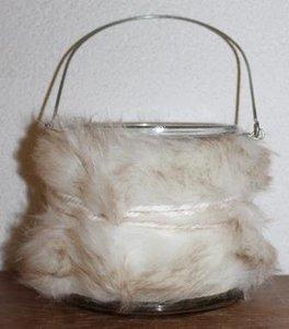 Brocante windlicht glas met bontje, waxinelichtje