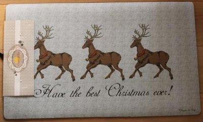 Deurmat brocante kerst rendieren, herten en tekst